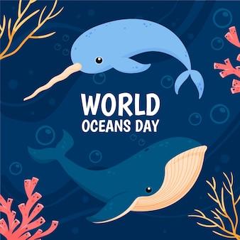 Día mundial de los océanos con ballenas y narval