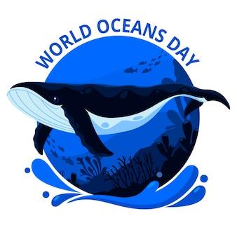 Día mundial de los océanos con ballenas en el océano