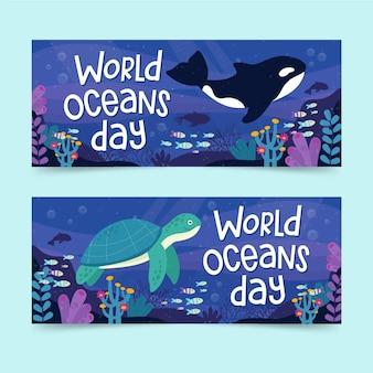Día mundial de los océanos banner concepto establecido
