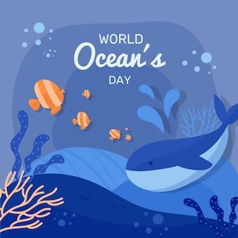 Día mundial de los océanos de diseño plano