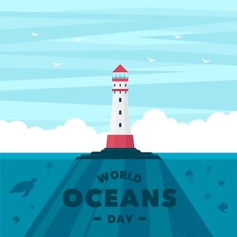 Día mundial de los océanos con faro