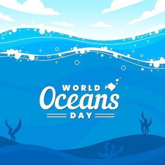 Día mundial de los océanos con océano y olas