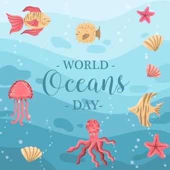 Día mundial de los océanos con pescado y medusas