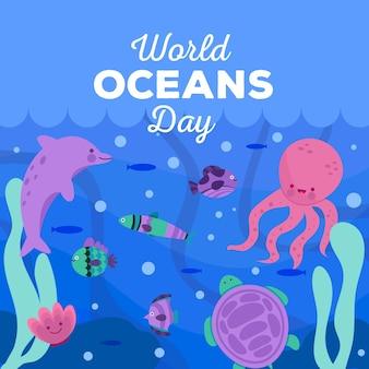 Día mundial de los océanos con pescado y pulpo