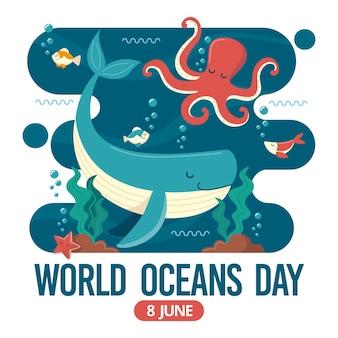 Día mundial de los océanos con pulpo y ballena
