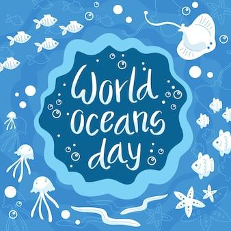 Día mundial de los océanos rodeado de vidas submarinas