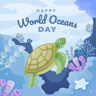 Día mundial de los océanos con tortuga