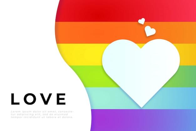 Día mundial del orgullo con bandera de orgullo, corazón blanco y plantilla de texto