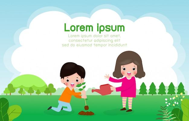Día mundial del ozono, los niños aman la tierra y cuidan el medio ambiente, salvan el planeta, salvan el mundo, la ilustración del vector del concepto de ecología
