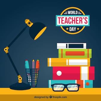 Día mundial del profesorado, escena con elementos escolares
