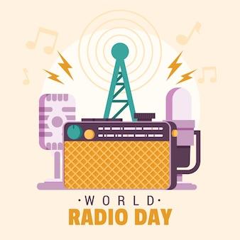 Día mundial de la radio y antena dibujados a mano.