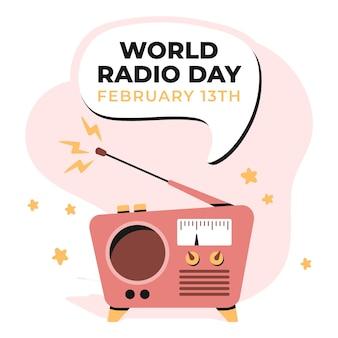 Día mundial de la radio dibujado a mano plana