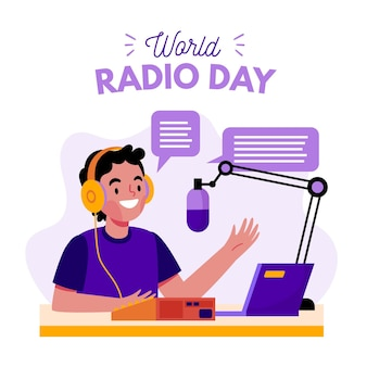 Día mundial de la radio dibujado a mano
