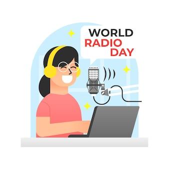 Día mundial de la radio en diseño plano con mujer