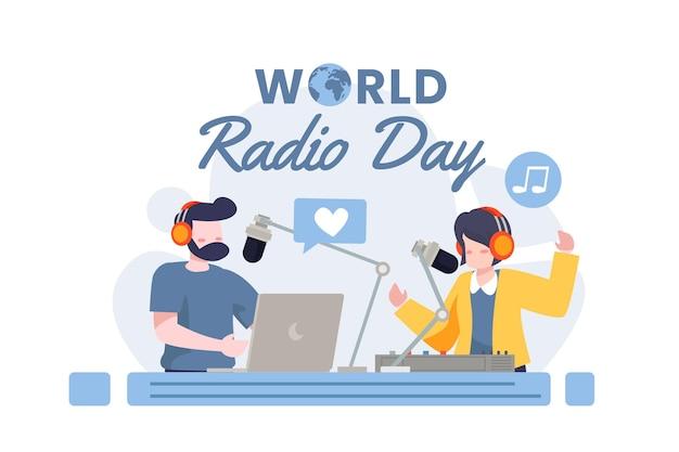 Día mundial de la radio en diseño plano con personajes.