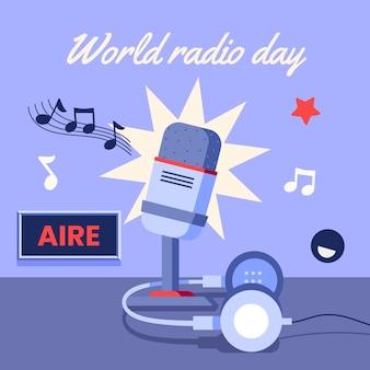 Día mundial de la radio del diseño plano