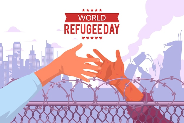 Día mundial de los refugiados en diseño plano