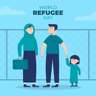 Día mundial de los refugiados con la familia.