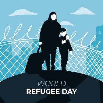 Día mundial de los refugiados, madre e hijo