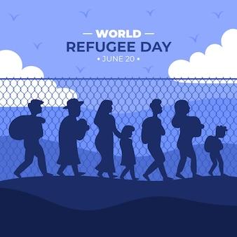 Día mundial de los refugiados silueta