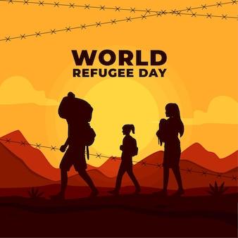 Día mundial de los refugiados con siluetas y alambre de púas