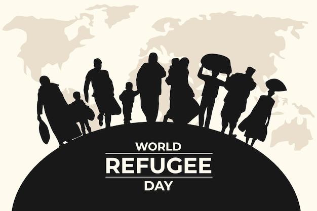 Día mundial de los refugiados de siluetas