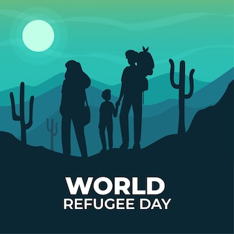 Día mundial de los refugiados con siluetas
