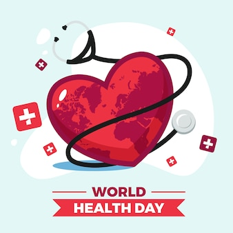 Día mundial de la salud con cinta y estetoscopio