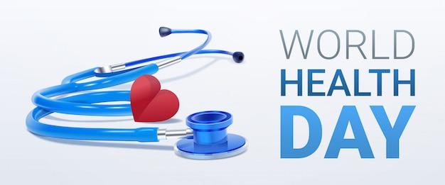 Día mundial de la salud con corazón y estetoscopio