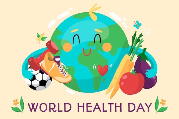 Día mundial de la salud dibujado a mano