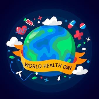 Día mundial de la salud en diseño plano
