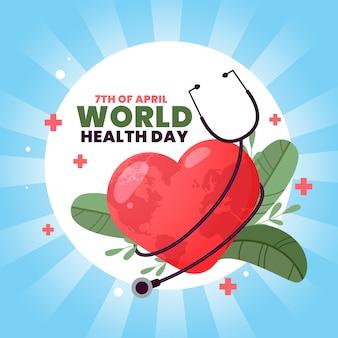Día mundial de la salud con estetoscopio y hojas