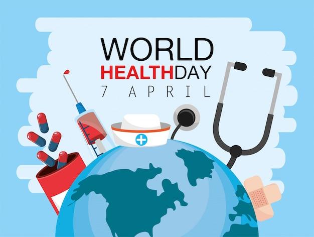 Día mundial de la salud con estetoscopio y medicina.