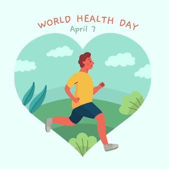 Día mundial de la salud con el hombre corriendo
