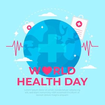 Día mundial de la salud con línea de pulso