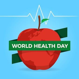Día mundial de la salud con manzana