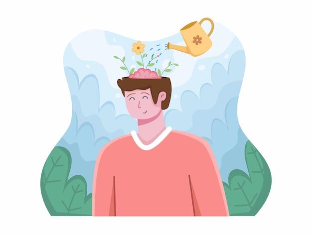 Día mundial de la salud mental el 10 de octubre con personas relajantes despeje su mente pensamiento positivo