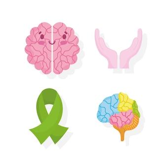 Día mundial de la salud mental, manos de cinta de cerebro de dibujos animados apoyan los iconos