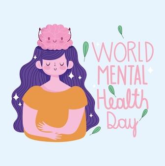 Día mundial de la salud mental, mujer joven con dibujos animados de cerebro humano
