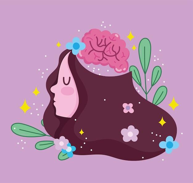 Día mundial de la salud mental, niña cerebro humano flores decoración de hojas