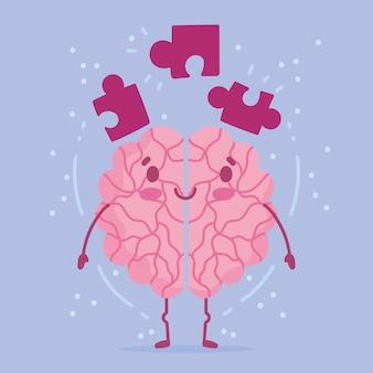 Día mundial de la salud mental, piezas de rompecabezas de cerebro de dibujos animados