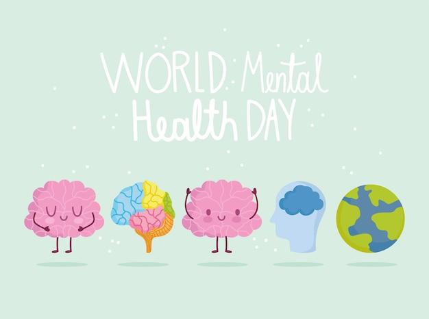 Día mundial de la salud mental, tarjeta de iconos de cabeza de órgano de planeta de personajes cerebrales