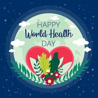 Día mundial de la salud plana