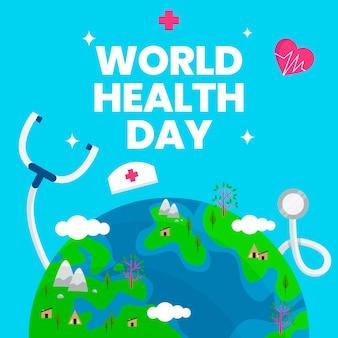 Día mundial de la salud con el planeta tierra