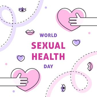 Día mundial de la salud sexual con corazones