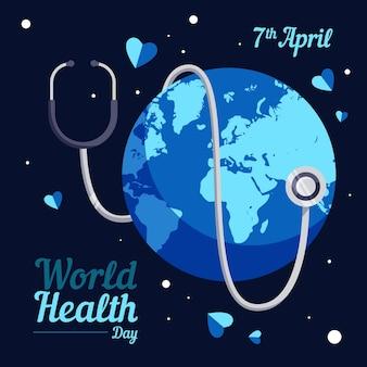 Día mundial de la salud tierra con estetoscopio en la noche