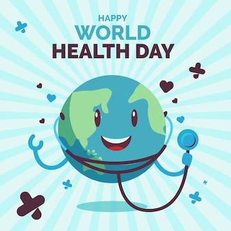 Día mundial de la salud tierra con estetoscopio