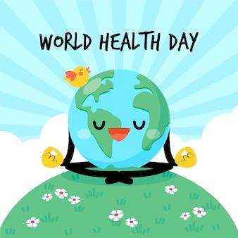 Día mundial de la salud tierra haciendo yoga curativo