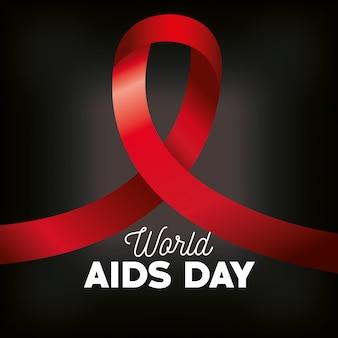 Día mundial del sida con bandera de mano y cinta