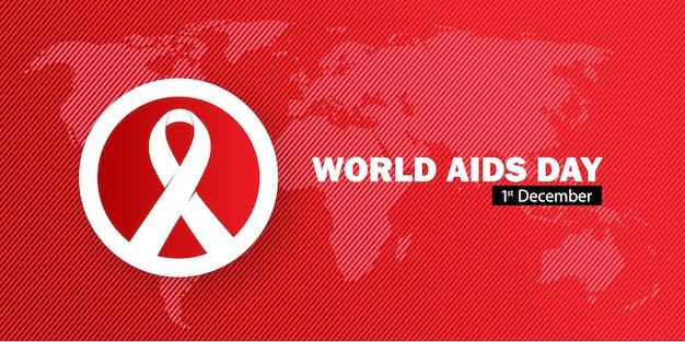 Día mundial del sida con cinta y mapa del mundo en color rojo.